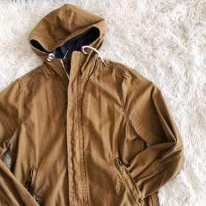 H&M MENS tan hooded zippered trench coat